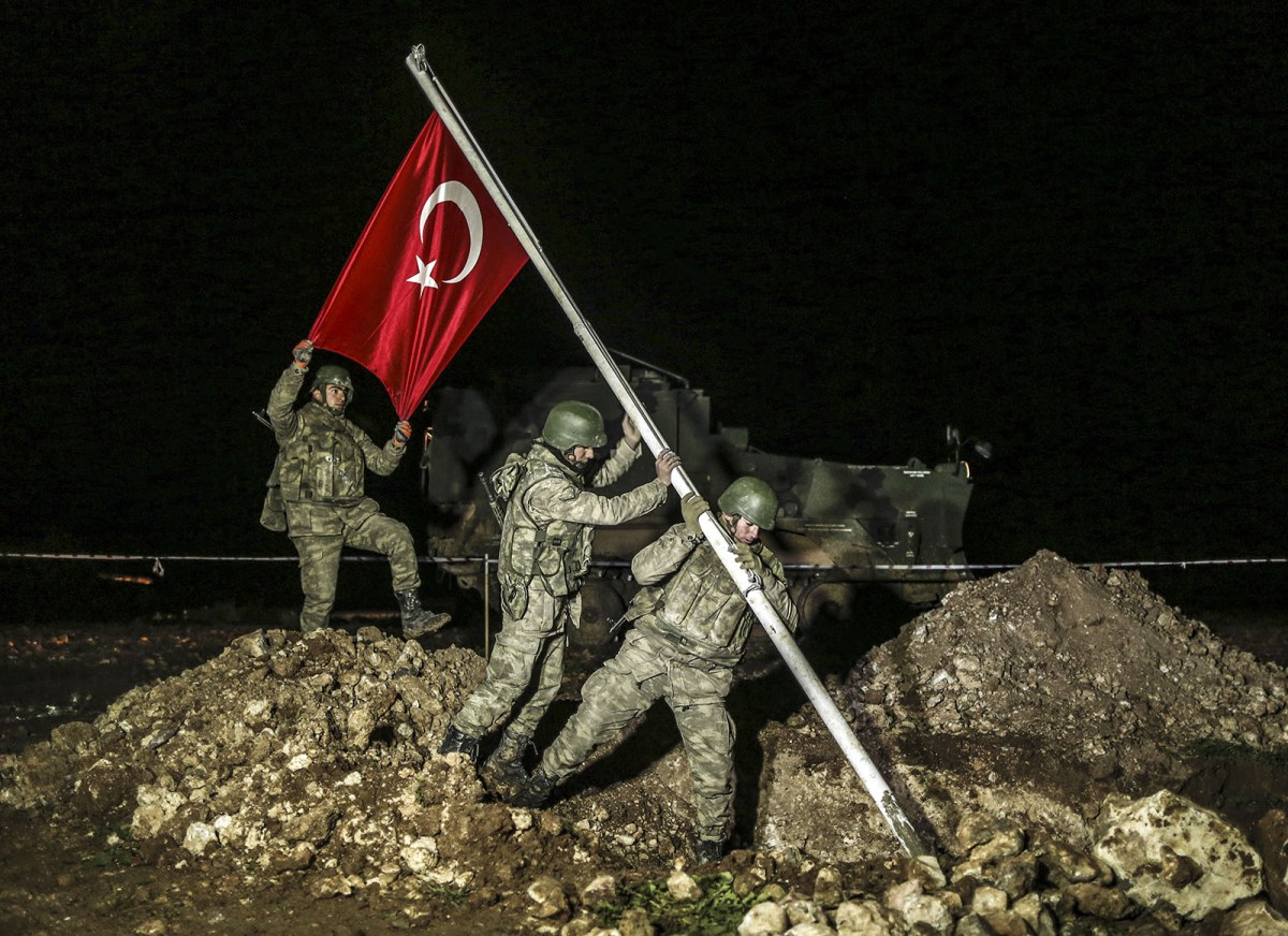The Turkish flag on the border with Syria